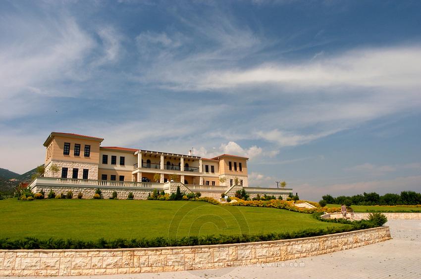 Winery building. Biblia Chora Winery, Kokkinohori, Kavala, Macedonia, Greece