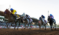 ARCADIA, CA - SEPTEMBER 30: Mubtaahij #6, ridden by Drayden Van Dyke overtakes Midnight Storm #3 and Flavien Prat to win the Awesome Again Stakes at Santa Anita Park on September 30, 2017 in Arcadia, California. (Photo by Alex Evers/Eclipse Sportswire/Getty Images)