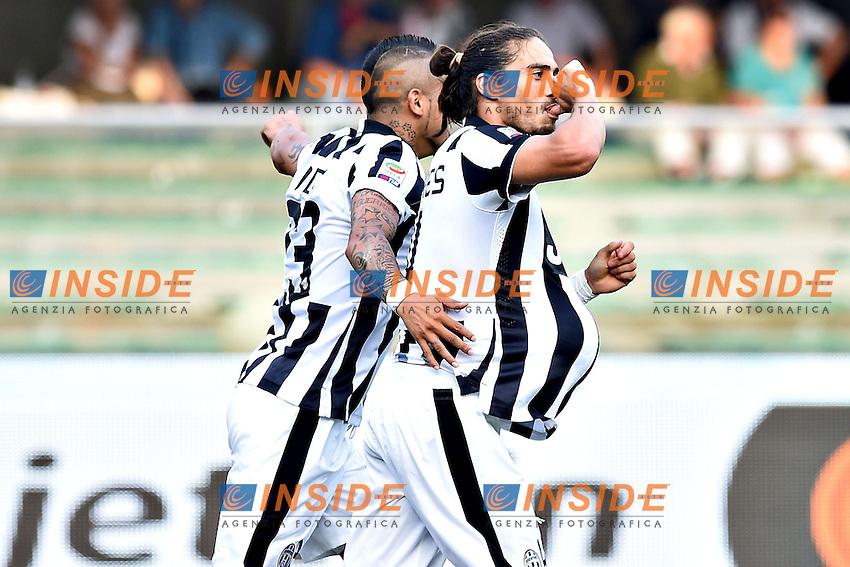esultanza gol Martin Caceres goal celebration<br /> Verona 30-08-2014, Stadio Bentegodi, Football Calcio 2014/2015 Serie A, Chievo - Juventus, Foto ImageSport/Insidefoto