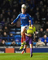 Cameron McGeehan of Portsmouth wins a header during Portsmouth vs Exeter City, Leasing.com Trophy Football at Fratton Park on 18th February 2020