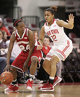 Ohio State's Maleeka Alston (12) guards Wisconsin's Tiera Stephen (24) during their NCAA basketball game Thursday, Feb. 7, 2013, in Columbus Ohio. (Photo for the Dispatch by Mike Munden)