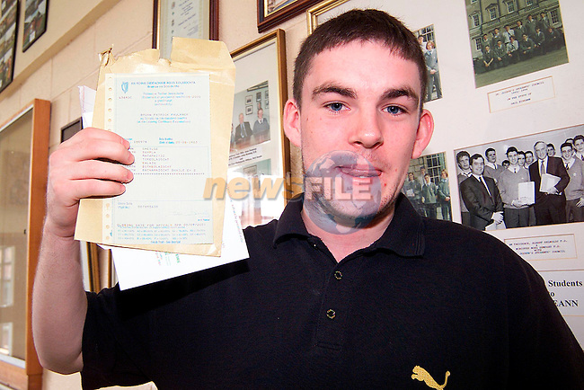 Brian Faulkner from Newfield after receiving his Leaving Cert results from St. Joseph's CBS..Picture: Paul Mohan/Newsfile