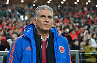 SEÚL – COREA DEL SUR, 26-03-2019: Carlos Queiroz técnico de Colombia gesticula durante partido amistoso de la fecha FIFA marzo 2019 entre las selecciones de Corea del Sur y Colombia jugado en el estadio Mundialista de Seúl. / Carlos Queiroz coach of Colombia gestures during friendly match for the FIFA date March 2019 between national teams of South Korea and Colombia played at Seoul World Cup Stadium. Photos: VizzorImage / Julian Medina / Cont / FCF