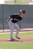 Stefen Romero #55 of the Seattle Mariners participates in spring training workouts the Mariners minor league complex on March 19, 2011  in Peoria, Arizona. .Photo by:  Bill Mitchell/Four Seam Images.