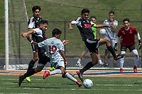 NWA Democrat-Gazette/BEN GOFF @NWABENGOFF<br /> Jason Mendoza (left) and Alejandro Iturriaga of Fort Smith Northside defend as Irvin Sotero makes an attempt Saturday, May 12, 2018 during the semifinal match in the boys 7A state soccer tournament in Gates Stadium at Rogers Heritage.