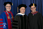 Left to right, the Rev. Dennis H. Holtschneider, C.M., president of DePaul, commencement speaker and honorary degree recipient John Corigliano, a Grammy Award-winning American composer, and John Culbert, dean of The Theatre School. DePaul University School of Music and The Theatre School held its commencement ceremony, Saturday, June 10, 2017, during the DePaul University School of Music and The Theatre School commencement ceremony at the Rosemont Theatre in Rosemont, IL. (DePaul University/Jeff Carrion)