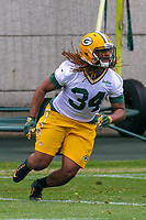 Green Bay Packers running back Kalif Phillips (34) during an Organized Team Activity on May 23, 2017 at Clarke Hinkle Field in Green Bay, Wisconsin.  (Brad Krause/Krause Sports Photography)
