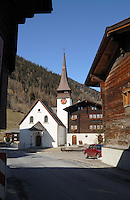 Village church in the village Ritzingen in the Swiss alps- close to the Furkapass, Oberwald, Switzerland.