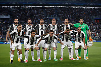 Football Soccer: UEFA Champions League semifinal second leg Juventus - Monaco, Juventus stadium, Turin, Italy,  May 9, 2017. <br /> Juventus team players (from top left): Giorgio Chiellini, Andrea Barzagli, Sami Khedira, Mario Mandzukic, Leonardo Bonucci, Gianluigi Buffon, Paulo Dybala, Dani Alves, Miralem Pjanic, Alex Sandro, Gonzalo Higuain pose before the Uefa Champions League football match between Juventus and Monaco at Juventus stadium, on May 9, 2017.<br /> UPDATE IMAGES PRESS/Isabella Bonotto