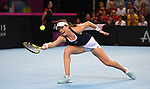 Johanna Konta (Great Britain). Rubber 1. Great Britain v Kazakhstan. World group II play off in the BNP Paribas Fed Cup. Copper Box arena. Queen Elizabeth Olympic Park. Stratford. London. UK. 20/04/2019. ~ MANDATORY Credit Garry Bowden/Sportinpictures - NO UNAUTHORISED USE - 07837 394578