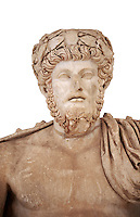 Roman sculpture of the Emperor Lucius Verus, excavated from Bulla Regia Theatre, sculpted circa 161-169 AD. The Bardo National Museum, Tunis.  Against a white background.