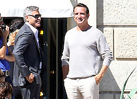 George Clooney, his fiancee Amal Alamuddin & Jean Dujardin on the set of 'NESPRESSO'  - Italy
