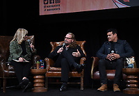 """HOLLYWOOD - MAY 29: Moderator Lynette Rice, Co-Creator/Executive Producer/Writer Kurt Sutter, and Co-Creator/Executive Producer/Writer/Director Elgin James attend the FYC event for FX's """"Mayans M.C."""" at Neuehouse Hollywood on May 29, 2019 in Hollywood, California. (Photo by Frank Micelotta/FX/PictureGroup)"""