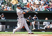 New York Yankees second baseman Gleyber Torres (25) hits a solo home run in the second inning against the Baltimore Orioles at Oriole Park at Camden Yards in Baltimore, MD on Sunday, April 7, 2019. <br /> Credit: Ron Sachs / CNP<br /> (RESTRICTION: NO New York or New Jersey Newspapers or newspapers within a 75 mile radius of New York City)