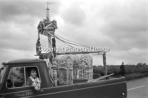 Barwick in Elmet  Spring bank holiday Tuesday Yorkshire England 1972.The garlands and the Fox weather vain are driven around the <br />