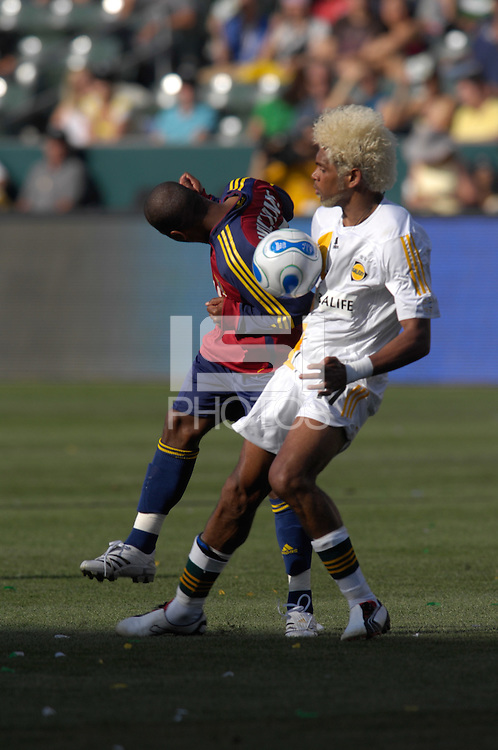 Andy Williams and Abel Xavier battle for the ball. The Los Angeles Galaxy defeated Real Salt Lake, 3-2, at the Home Depot Center in Carson, CA on Sunday, June 17, 2007.