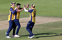Mohammed Amir of Essex celebrates taking the wicket of Rilee Rossouw during Hampshire vs Essex Eagles, Vitality Blast T20 Cricket at the Ageas Bowl on 25th August 2019