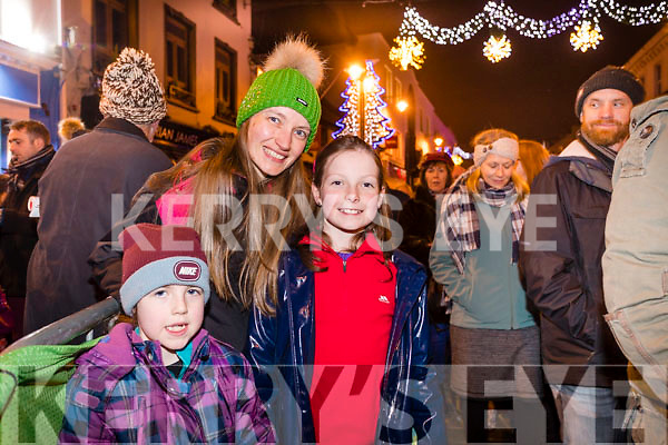 Pictured at the Christmas in Killarney magical parade on Friday evening last, were l-r: Kate, Melissa and Heather Culloty, Killarney