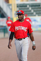 Potomac Nationals outfielder Isaac Ballou (10) before a game against the Myrtle Beach Pelicans at Ticketreturn.com Field at Pelicans Ballpark on May 25, 2015 in Myrtle Beach, South Carolina.  Myrtle Beach defeated Potomac 3-0. (Robert Gurganus/Four Seam Images)