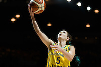Melbourne, 15 August 2015 - Tessa LAVEY of Australia drives to the basket in game one of the 2015 FIBA Oceania Championships in women's basketball between the Australian Opals and the New Zealand Tall Ferns at Rod Laver Arena in Melbourne, Australia. Aus def NZ 61-41. (Photo Sydney Low / sydlow.com)