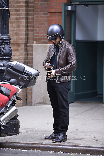 WWW.ACEPIXS.COM......April 19, 2013, New York, New York.....David Blaine out and about on a motorcycle on April 19, 2013 in New York City...........By Line: Curtis Means/ACE Pictures....ACE Pictures, Inc..Tel: 646 769 0430..Email: info@acepixs.com