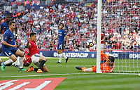 Manchester United's Alexis Sanchez scores in the second half but the goal was ruled out for offside<br /> <br /> Photographer Rob Newell/CameraSport<br /> <br /> Emirates FA Cup Final - Chelsea v Manchester United - Saturday 19th May 2018 - Wembley Stadium - London<br />  <br /> World Copyright &copy; 2018 CameraSport. All rights reserved. 43 Linden Ave. Countesthorpe. Leicester. England. LE8 5PG - Tel: +44 (0) 116 277 4147 - admin@camerasport.com - www.camerasport.com