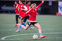 Allston, MA - Saturday, May 07, 2016: Chicago Red Stars midfielder Alyssa Mautz (4) during warmups before a regular season National Women's Soccer League (NWSL) match at Jordan Field.