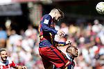 Granada's Jean-Sylvain Babin (r) and FC Barcelona's Gerard Pique during La Liga match. May 14,2016. (ALTERPHOTOS/Acero)