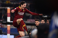 Nicolo Zaniolo of AS Roma celebrates after scoring goal of 1-1 during the Serie A 2018/2019 football match between AS Roma and AC Milan at stadio Olimpico, Roma, February 3, 2019 <br />  Foto Andrea Staccioli / Insidefoto
