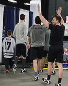 Trevor Mingoia (PC - 9) - The Providence College Friars warmed up prior to the Frozen Four final at TD Garden on Saturday, April 11, 2015, in Boston, Massachusetts.