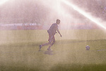 Players of Palestine take part in a drill as the sprinklers spray water during the half-time break in the AFC Asian Cup UAE 2019 Group B match between Palestine (PLE) and Australia (AUS) at Rashid Stadium on 11 January 2019 in Dubai, United Arab Emirates. Photo by Marcio Rodrigo Machado / Power Sport Images