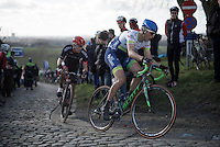 Jens Keukeleire (BEL/Orica-GreenEDGE) on top of the Paterberg<br /> <br /> E3 - Harelbeke 2016