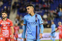 HARRISON, NJ - FEBRUARY 26: Jesus Medina #19 of NYCFC during a game between AD San Carlos and NYCFC at Red Bull on February 26, 2020 in Harrison, New Jersey.