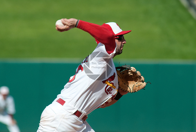 30 May 2011                            St. Louis Cardinals third baseman Daniel Descalso (33) throws to first after scooping up a grounder. The San Francisco Giants defeated the St. Louis Cardinals 7-3 on Monday May 30, 2011 in the first game of a four-game series at Busch Stadium in downtown St. Louis.