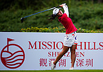 Liqing Chen of China hits her shot during the Hyundai China Ladies Open 2014 on December 10 2014 at Mission Hills Shenzhen, in Shenzhen, China. Photo by Xaume Olleros / Power Sport Images