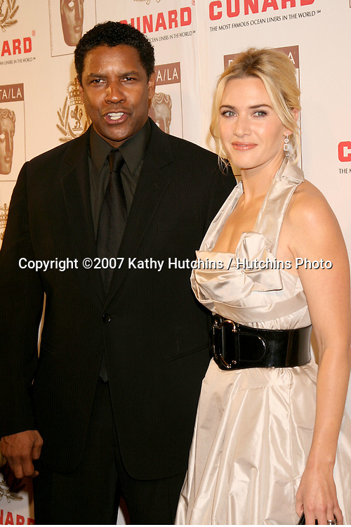 Denzel Washington & Kate Winslet.BAFTA/LA Cunard Britannia Awards 2007.British Academy of Film & Television Arts / LA.Hyatt Regency Century Plaza Hotel.Los Angeles, CA.November 1, 2007.©2007 Kathy Hutchins / Hutchins Photo...               .