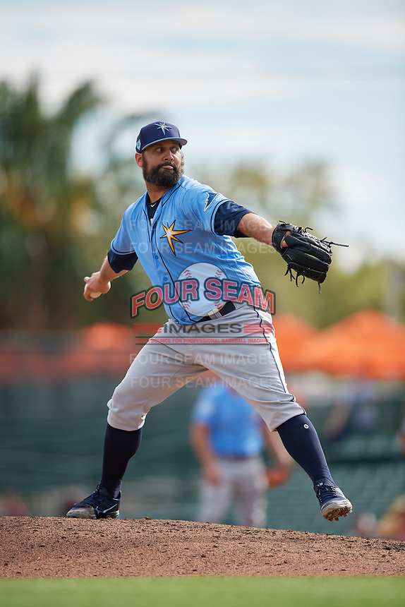 Tampa Bay Rays relief pitcher Andrew Kittredge (36) delivers a pitch during a Grapefruit League Spring Training game against the Baltimore Orioles on March 1, 2019 at Ed Smith Stadium in Sarasota, Florida.  Rays defeated the Orioles 10-5.  (Mike Janes/Four Seam Images)