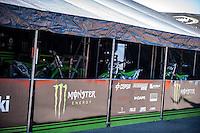 Kawasaki box in pit line at Spanish Motocross Championship at Albaida circuit (Spain), 22-23 February 2014