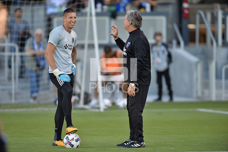 San Jose, CA - Monday July 10, 2017: David Bingham, Tim Hanley prior to a U.S. Open Cup quarterfinal match between the San Jose Earthquakes and the Los Angeles Galaxy at Avaya Stadium.