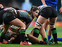 28th December 2019; Twickenham, London, England; Big Game 12 Womens Rugby, Harlequins versus Leinster; Leanne Riley of Harlequins prepares to pass the ball from the ruck - Editorial Use