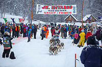 Emma Shawcroft during the start of the 2018 Junior Iditarod Sled Dog Race on Knik Lake in Southcentral, Alaska.  Saturday February 24, 2018<br /> <br /> Photo by Jeff Schultz/SchultzPhoto.com  (C) 2018  ALL RIGHTS RESERVED