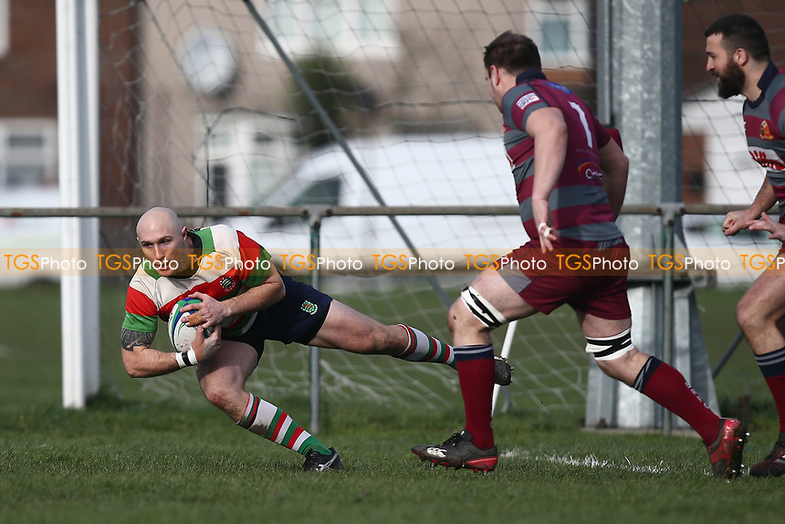 Ilford score their first try during Barking RFC vs Ilford Wanderers RFC, London 3 Essex Division Rugby Union at Gale Street on 9th February 2019