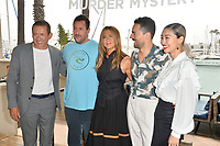 "LOS ANGELES, USA. June 11, 2019: Dany Boon, Adam Sandler, Jennifer Aniston, Luis Gerardo Mendez & Shioli Kutsuna at the photocall for ""Murder Mystery"" at the Ritz Carlton, Marina del Rey.<br /> Picture: Paul Smith/Featureflash"