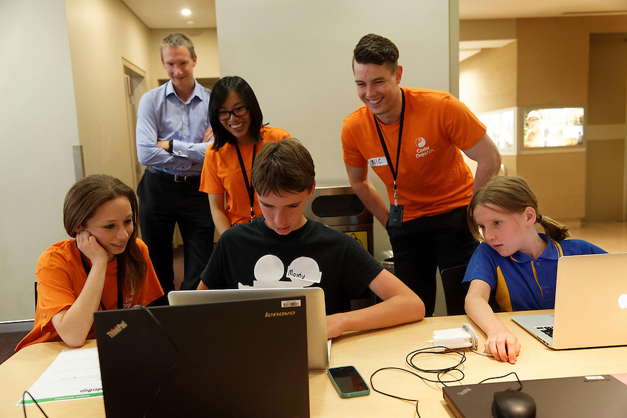 CoderDoJo, a volunteer led coding club for kids where they learn to code. One of the WA chapters is held at Woodsides' Perth HQ.  photo by Trevor Collens 8/12/2016