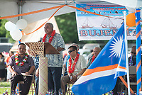 NWA Democrat-Gazette/BEN GOFF @NWABENGOFF<br /> Brenson Wase, Republic of the Marshall Islands Minister of Finance, makes the keynote address Friday, May 25, 2018, during the opening ceremony for the 39th annual Republic of the Marshall Islands Jemenei (Constitution) Day celebration at the Jones Center in Springdale. The celebration continues Saturday with basketball, baseball and other sporting events.