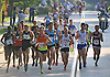 Parker Stinson, 23, of Eugene, OR (Bib No. 2) moves the front of the pack during Northport's annual Cow Harbor 10-kilometer run on Saturday, September 19, 2015. He went on to win the race with a time of 29:11.82.<br /> <br /> James Escher