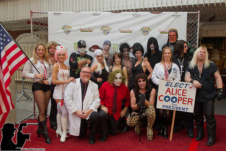 October Fright Fest Media day on Fremont Street featuring Frank and the Steins, Kevin James' Freaken Magic, and Ozzie and Alice performances with Fear at Binions Haunted Casino,