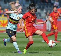 20170408 - EUPEN ,  BELGIUM : Belgian Jana Coryn (L) and spanish Leila Ouahabi (R) pictured during the female soccer game between the Belgian Red Flames and Spain , a friendly game before the European Championship in The Netherlands 2017  , Saturday 8 th April 2017 at Stadion Kehrweg  in Eupen , Belgium. PHOTO SPORTPIX.BE | DIRK VUYLSTEKE