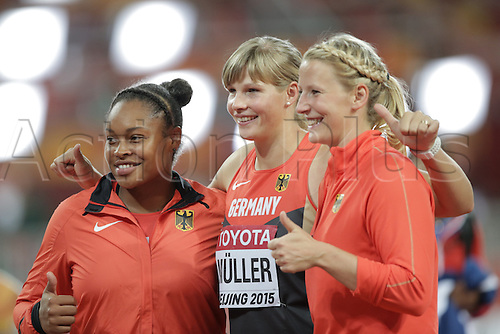 25.08.2015. Beijing, China.  (L-R) Shanice Craft ofGermany, Nadine Mueller ofGermany and Julia Fischer of Germany react during the women's Discus Throw final of the Beijing 2015 IAAF World Championships at the National Stadium, also known as Bird's Nest, in Beijing, China, 25 August 2015.