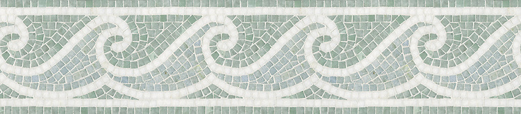 "8 3/4"" Jordan Wave border, a hand-cut mosaic shown in tumbled Celeste, Ming Green, and Thassos by New Ravenna."